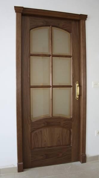 Trabajos realizados puerta modelo m56 nogal tapajuntas - Puertas con cristales biselados ...