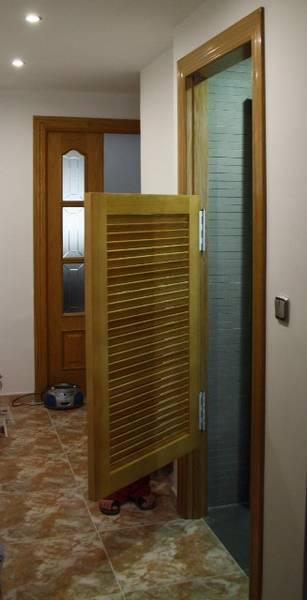 Trabajos realizados malloquina vaiven de alto 120 cm for Puertas vaiven de madera